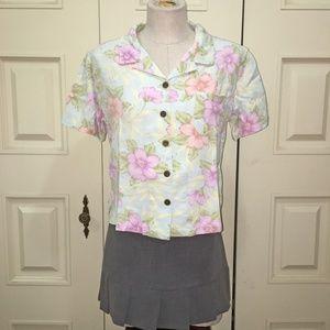 Christopher & Banks Pastel Floral Short Sleeve Top